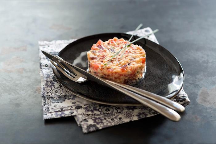 Tartara vegetariana con mozzarella e aromi di agrumi